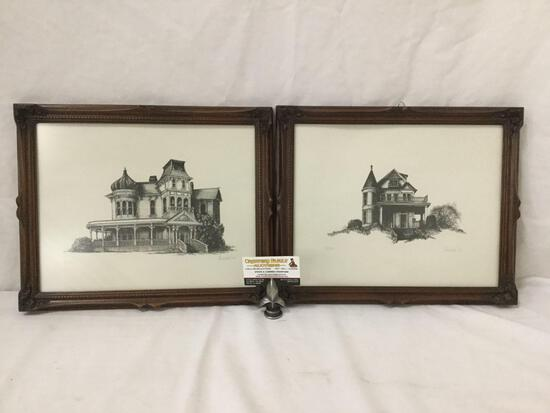 Set of 2 1982 Anschell hand signed architecture house prints #'d 40 & 15/100