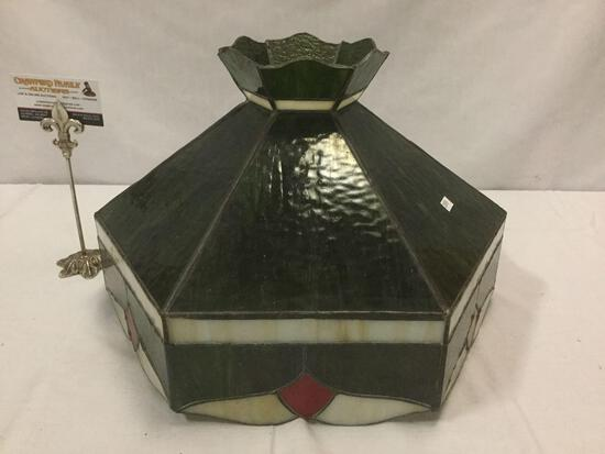 Vintage stained glass / slag glass hanging lamp shade w/ dark hues