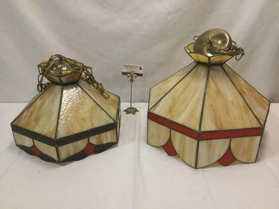 Lot of 2 vintage handmade stained glass/slag glass hanging lamps