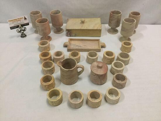 26 pc set of marbled stoneware dining decor incl. 16 napkin rings, goblet set for 6 + more