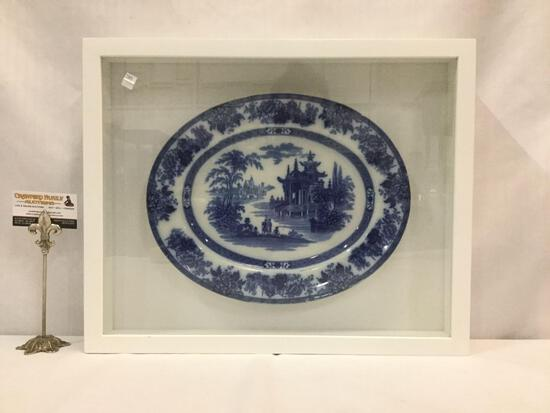 Vintage Asian flow blue porcelain platter with pagoda temple scene in shadowbox frame