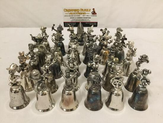 30x silverplate...Walt Disney character bells , mostly Mickey Mouse & friends