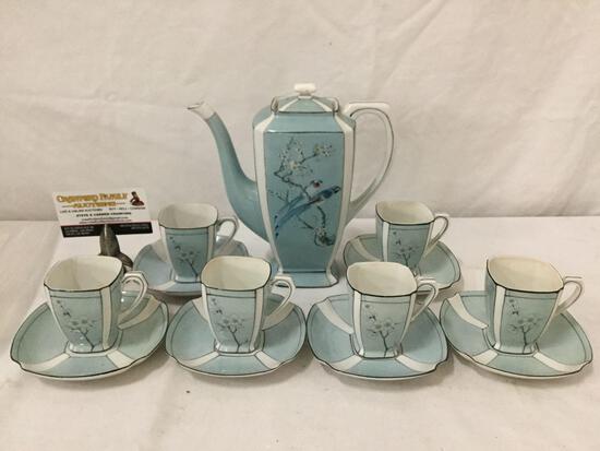 Vintage 14 pc Japanese Nippon porcelain tea set for 6 w/ a cherry blossom & bird motif