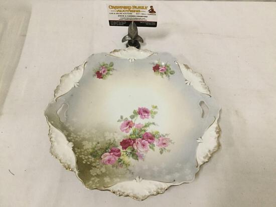 Antique RS Prussia painted floral motif porcelain serving plate