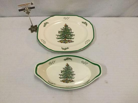 2x English SPODE Christmas pieces: serving platter and Christmas Tree serving bow