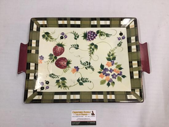 Oneida Strawberry Plaid platter w/ hand painted fruit motif