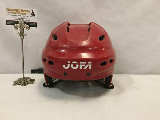 Red JOFA 690 L ice hockey helmet, size 7 - 7 5/8 inches, made in Sweden