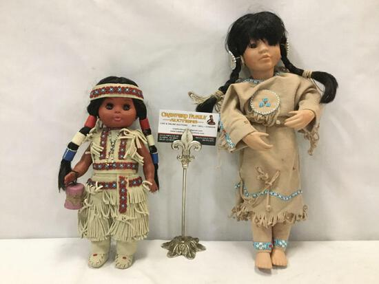 "2x Native American style dolls - incl. 1 1991 American Dairy Doll ""Many Stars"" w/ beaded adornments"