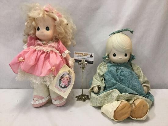 Two Precious Moments dolls; 1 doll w/ tags & stand. Some minor wear, see pics