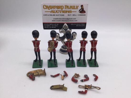 Vintage painted metal toy British military band members