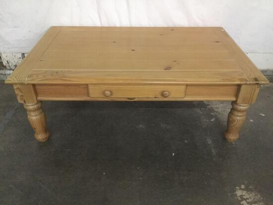 Modern pine single drawer coffee table with rustic charm