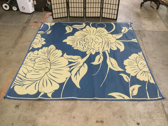 Blue/tan outdoor reversible patio rug from Patio Mats
