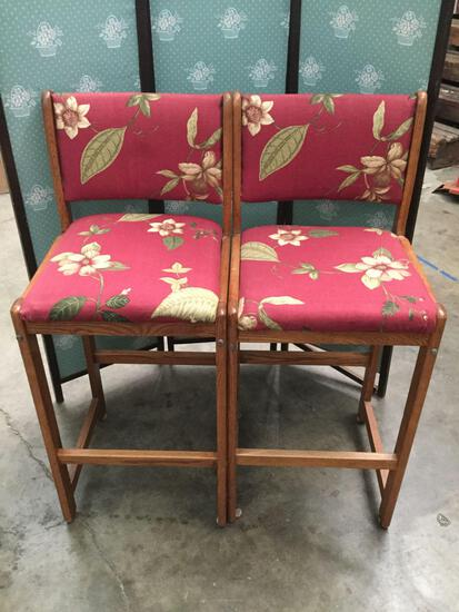 Pair of floral upholstered bar chairs - cabana vibes