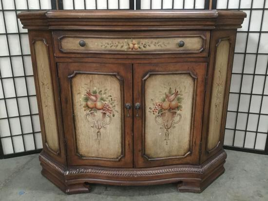 Antique style sideboard cabinet reproduction w/ floral designs & 1 drawer