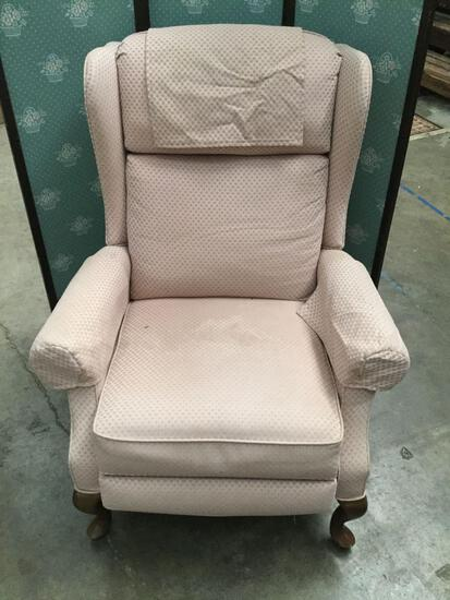 Vintage pink wingback chair, see pics/description - as is