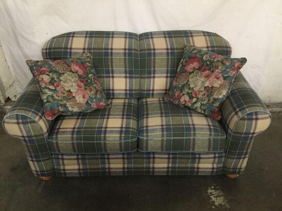 Lilly plaid loveseat sofa in good cond - matches next lot