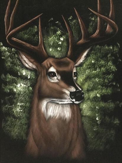 Framed original black velvet deer buck painting/portrait