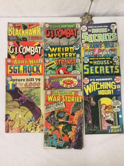 Collection of 13 vintage DC Comics, House Of Secrets, Weird Mystery, war comics