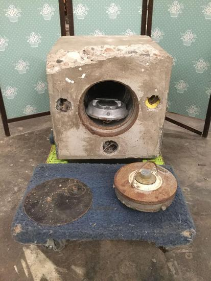 Vintage cylindrical floor safe (no combo) encased in concrete - as is