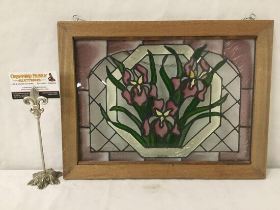 Framed stained glass hanging window display