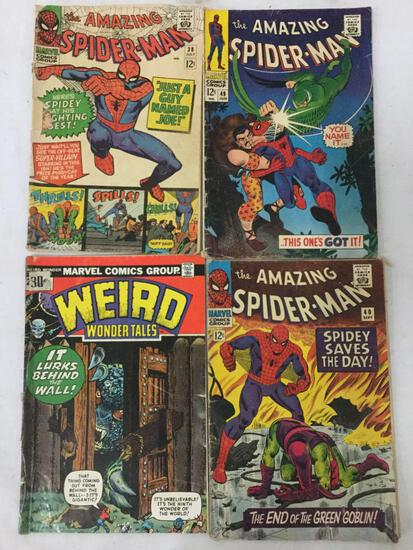 Collection of 3 vintage Spider-Man comics issues #38,40 & 49 + 1x Weird Wonder Tales #4