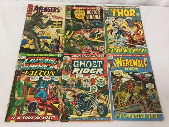 6 Vintage Marvel Comics - Thor #20, Ghost Rider #6, Capt America #161, Avengers #37 + more