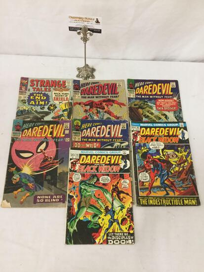 6 vintage Daredevil comics # 17, 23, 24, 25, 93 & 98, and one Strange Tales featuring Nick Fury #149