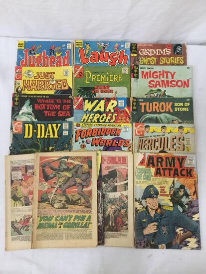 Collection of 16 vintage Comics, Turok, Hercules, Archie/Jughead, War Heroes. Some w/out covers.