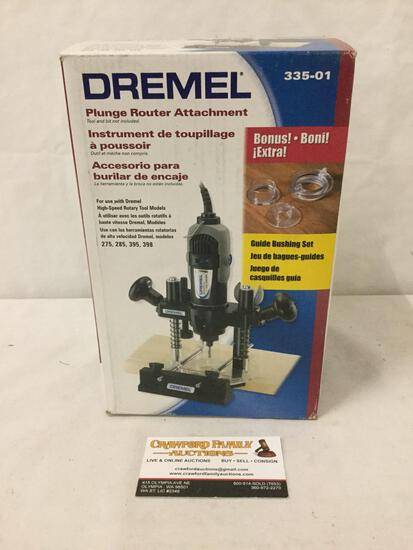 Dremel plunge router attachment in unopened box.