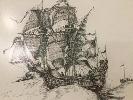 Framed ship etching/print signed by artist, Tom Woodruff.