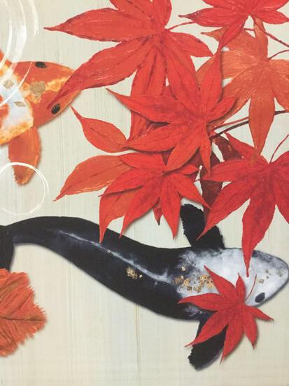 ICA Morgan Yamada Koi fish print home decor, approx. 24x24 inches