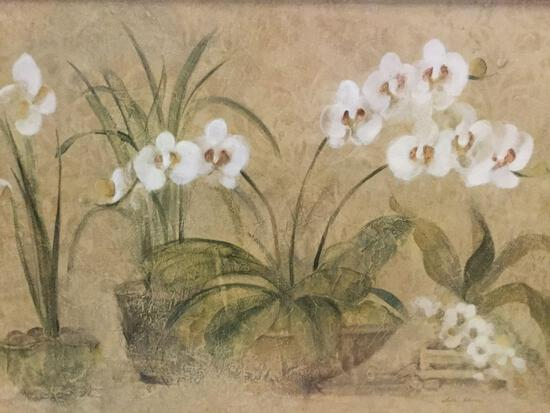 Framed Cheri Blum flower print, approx. 41x32 inches.