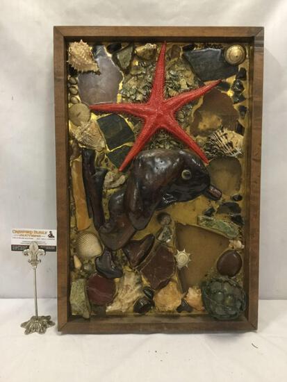 Box Framed natural sea life sculpture art piece