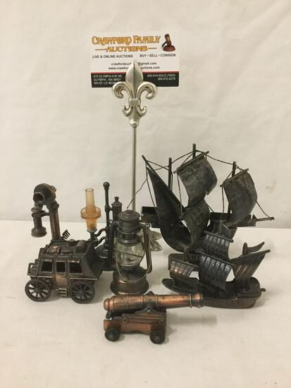 6 Metal pencil sharpeners, telephone, carriage, lantern, cannon & more