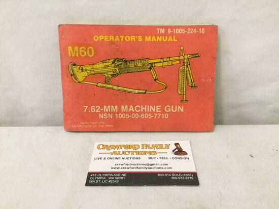 Vintage US Army M60 machine Gun operators manual