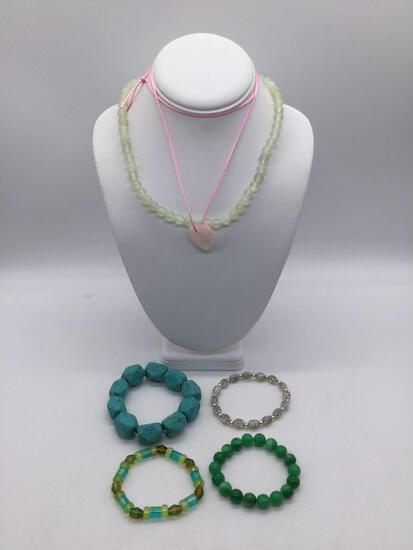 Selection of estate jewelry incl. rose quartz heart necklace, turquoise color stone bracelet