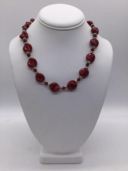 15 inch .925 Silver polished red stone/glass. Approx 18 inches.