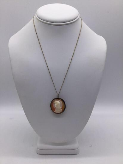 18 in. 14K Gold Necklace w/ sterling clasp & antique .900 silver cameo pendant of Jesus