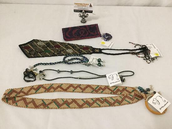 Vintage 1998-1999 Nancy Dice kumihimo braided necklace w/ matching earrings and more