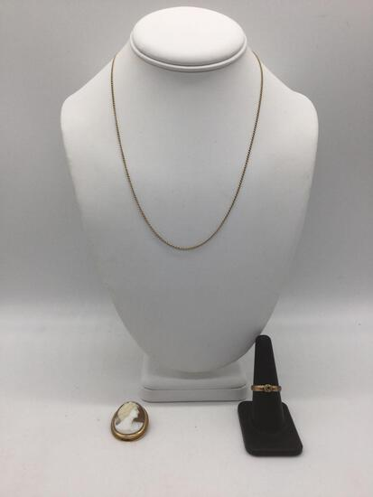 lot of 3: 10k Gold Necklace, gold ring marked 833 (20k) missing stone, Cameo w/ 10k gold tested