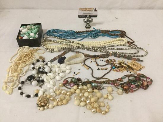 Large lot of estate necklaces & beads, bone, shell, turquoise & some polished stones