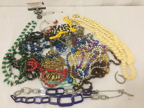 Huge lot estate jewelry necklaces & bracelets. some signed pieces from Chico?s, BSK & more