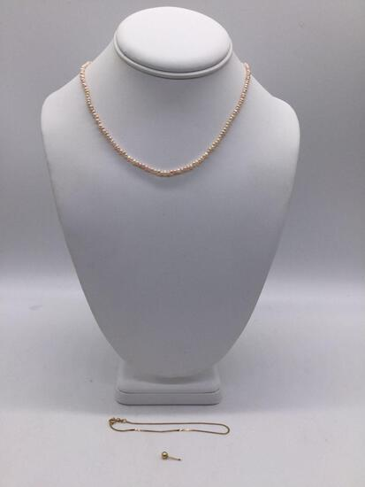 Small 14K Italy gold bracelet / 14K gold filled earring / vintage small pearl necklace w/ 14K clasp