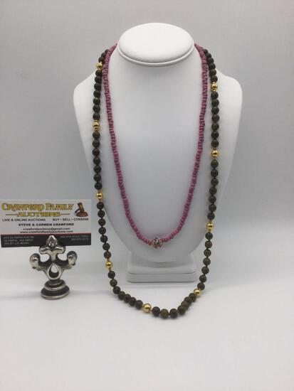 Two bead necklaces, incl. new green stone bead & purple bead necklaces. Approx. 15x1x0.5 inches.