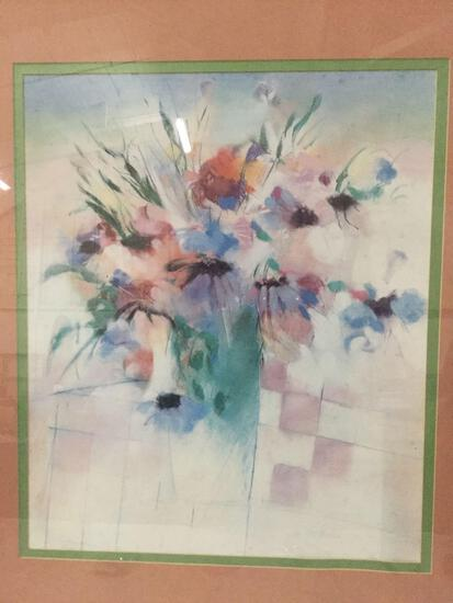 Large nicely framed impressionistic chalk art of flowers signed by artist. approx 37x33 inches.