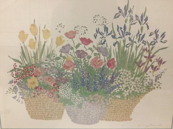 Beautiful framed watercolor print of potted flowers, signed by artist , approx. 30x24x1 inches....