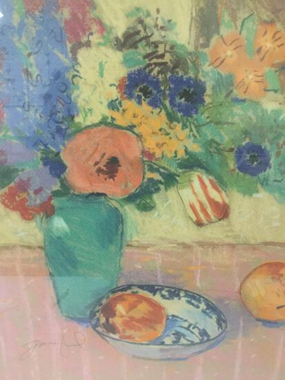 Framed 1989 Garden Reflections print - fruit and flowers still life painting - nice condition