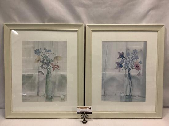 Pair of 2 modern wall art prints with floral scene by Wetherby - 69.99 price tag on ea.