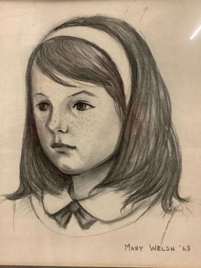 Framed original hand drawn pencil portrait of a child - signed Mary Welsh 1963.