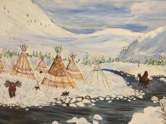Vintage Native Amerian original painting on board depicting winter village scene - signed Vincent